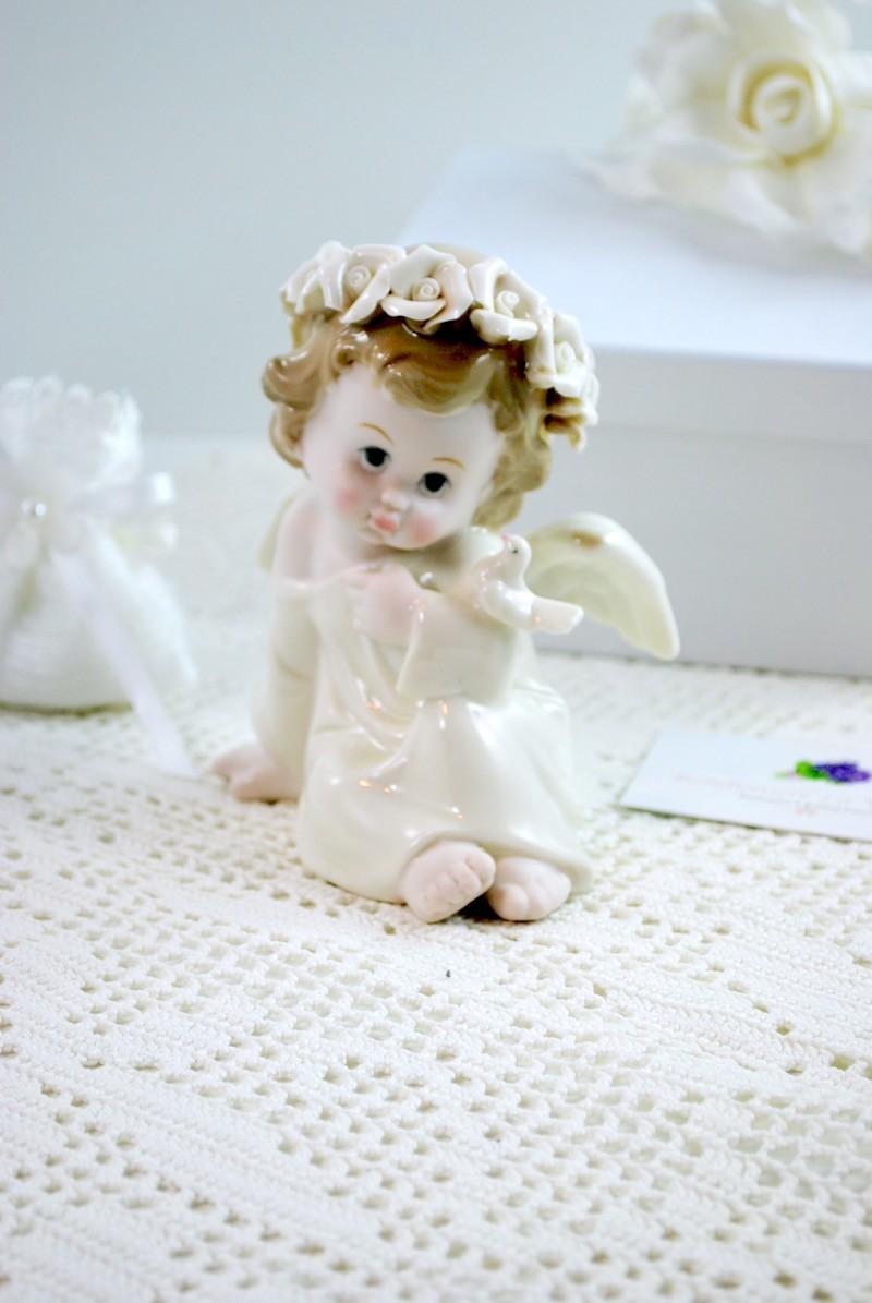 ANGELO Pearl Angel Seduto c/Colomba- MELOGRANO