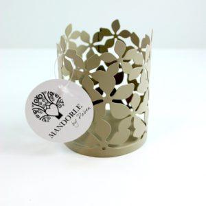 Portabicchieri Fiori in Metallo Tortora - LE MANDORLE