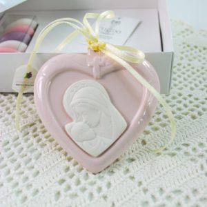 Bomboniere Cuore Rosa con Madonna e bambino -CUPIDO & CO