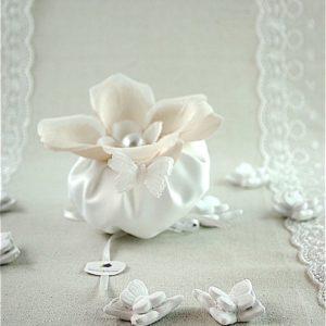 Sacchetto Puff Fiore e Perla Bianco- AD EMOZIONI
