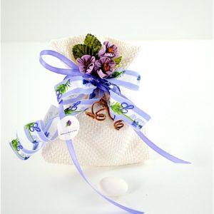 Sacchetto Iuta Bianco con Violette - JOELLE