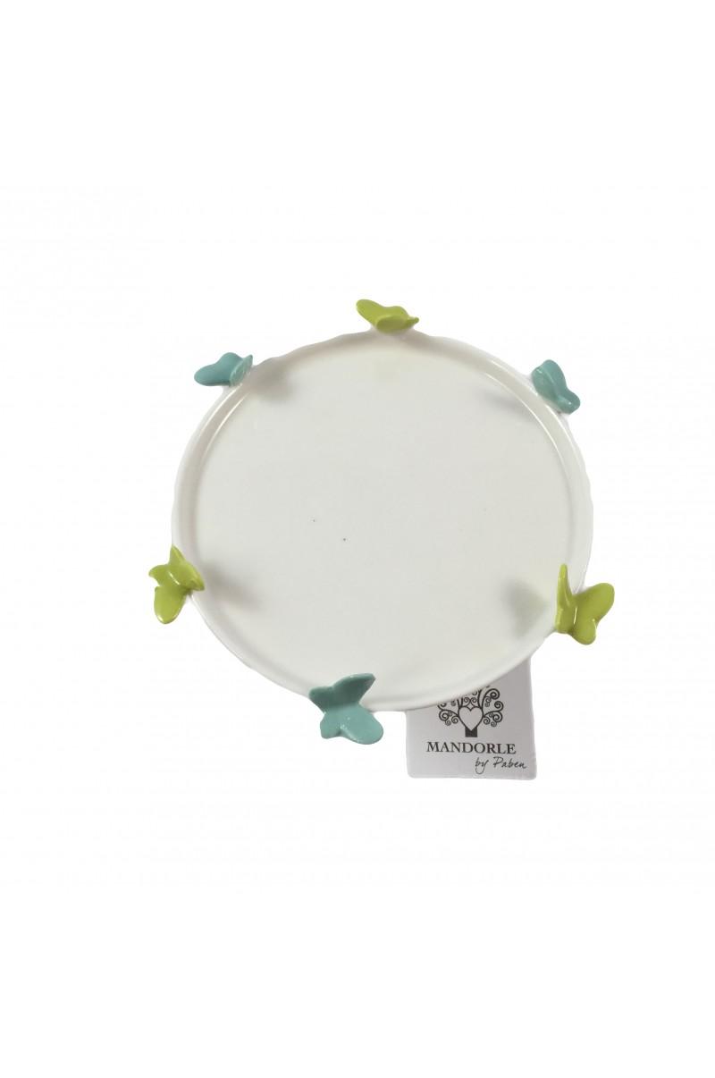 Alzata Linea Butterfly Verde e Azzurro - LE MANDORLE