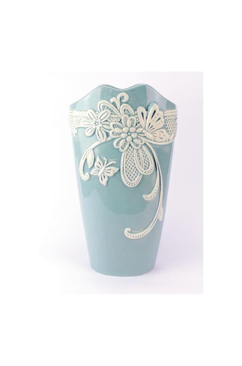 Bomboniera Matrimonio Azzurro : Bomboniera matrimonio vaso azzurro porcellana e merletto bianco