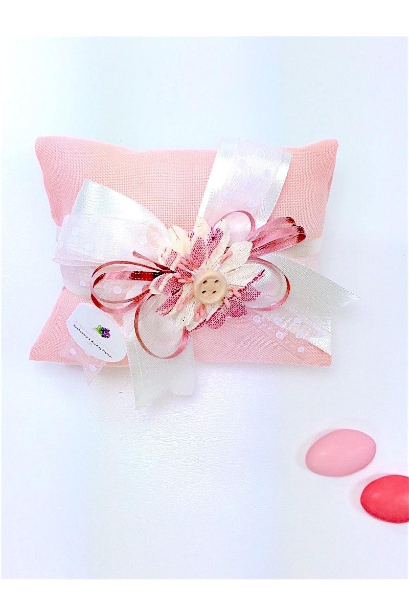 Fiori Bianchi 8 Lettere.Sacchetto Portaconfetti Busta Lettera Gr In Lino Rosa Corallo Con