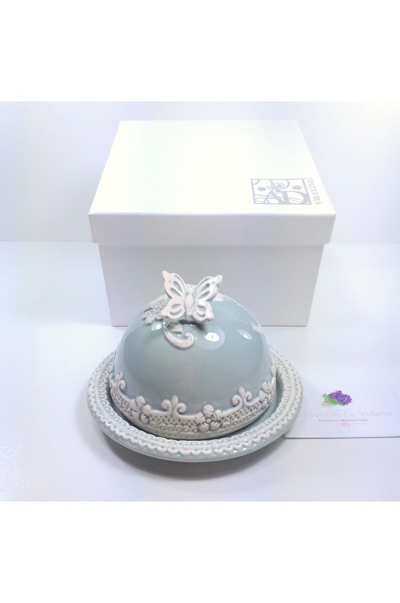 Bomboniera Matrimonio Azzurro : Bomboniera burriera piccola in porcellana azzurro polvere con