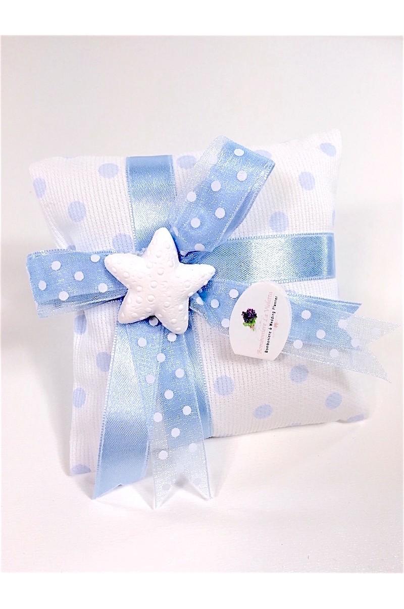 sacchetto portaconfetti cuscino in piquet millerighe a pois