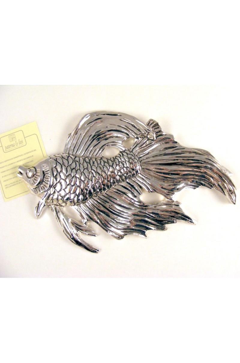 Pesce Piumato In Resina Argentata 925 - PATERNA E LIVI