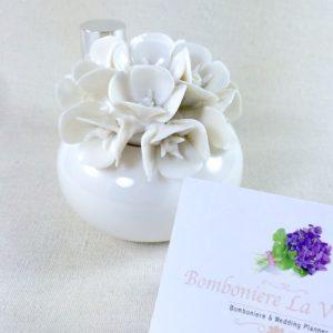 Profumatore Vasetto Palla Daisy in Porcellana Bianca - MELOGRANO