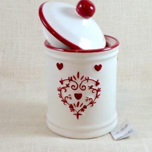 Barattolo in Ceramica Bianca e Cuoricini - LE STELLE