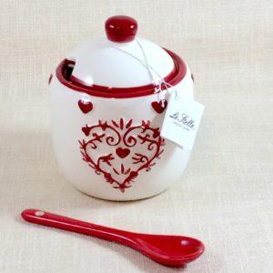 Zuccheriera in Ceramica Bianca e Cuoricini - LE STELLE