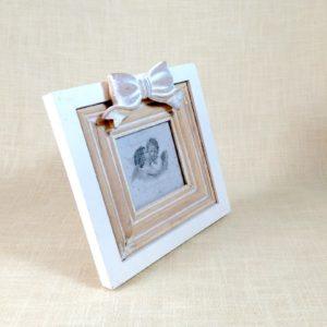 Portafoto Quadrato Legno con Fiocco -DVF