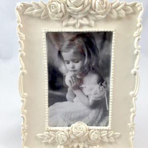 Portafoto Rettangolare Legno con Rose Avorio -DVF