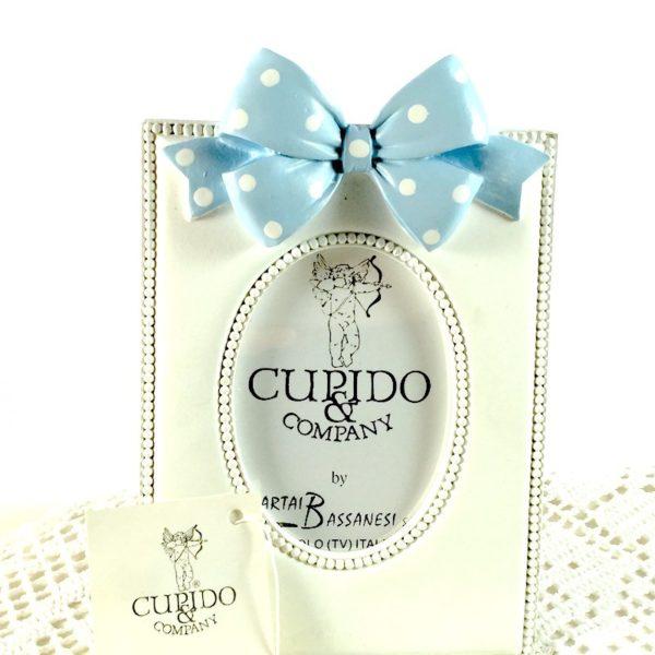 Portafoto Rettangolare Con Fiocco Azzurro- CUPIDO & CO
