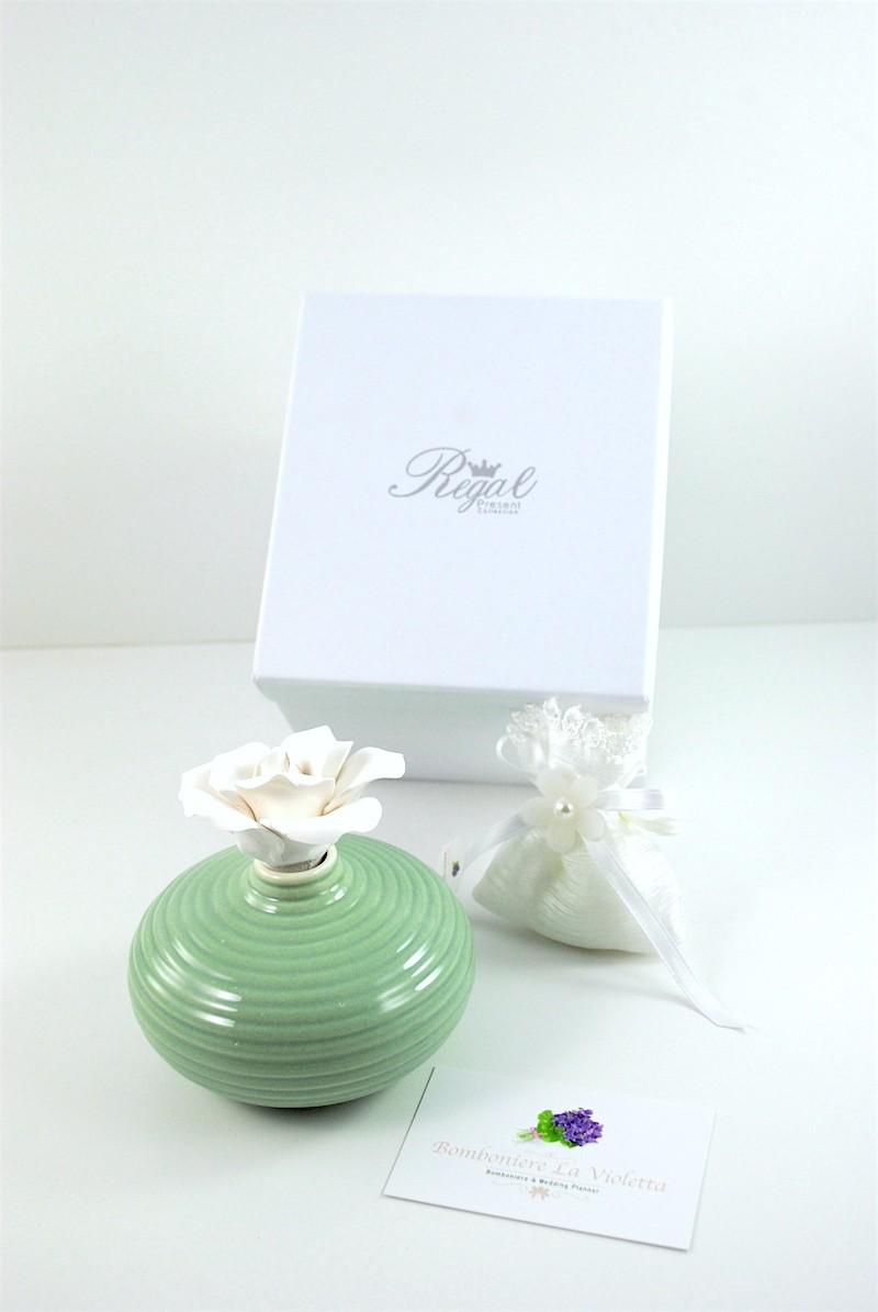 Bomboniera Confezionata Profumatore Verde con Rosa in Gesso - REGAL PRESENT COLLECTION