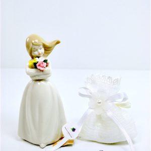 Bomboniera Confezionata Damina con Mazzo di Rose in Porcellana - KHARMA LIVING