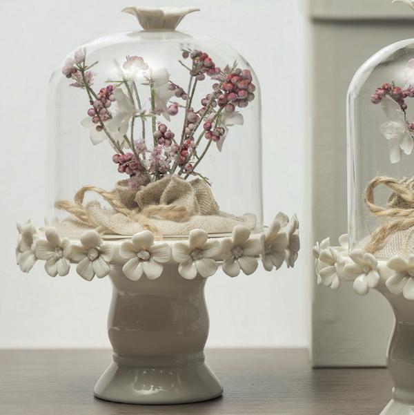 Bomboniera alzatina vetro gr c/base porcellana Linea Pepe ...