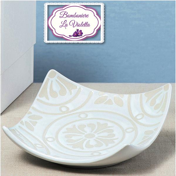 Bomboniere Matrimonio In Ceramica.Bomboniera Piattino Bianco In Ceramica Con Scatola Linea Positano