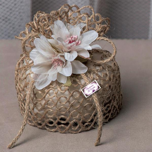 Estremamente Sacchetto grande Juta con fiori bianchi -Linea Nido d'Amore - Ad  RQ94