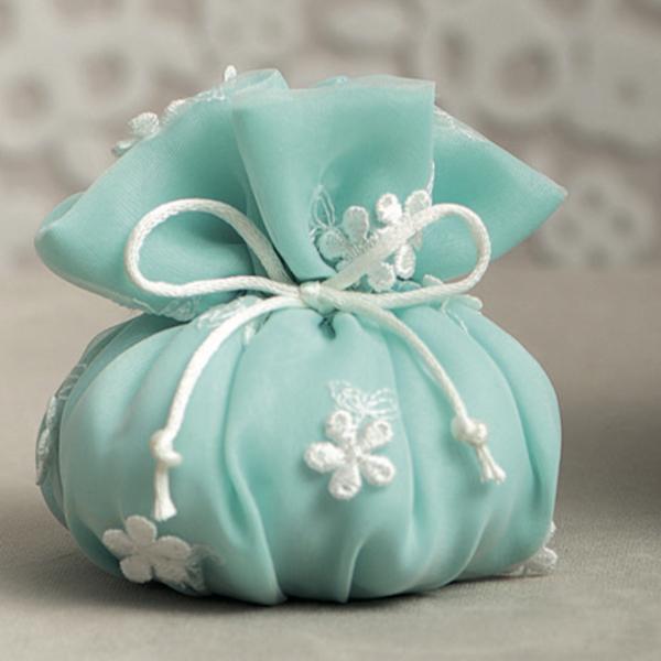 Bomboniere Matrimonio Verde Tiffany.Sacchetto Puff Organza Verde Tiffany Ricamo Margherite Linea Les