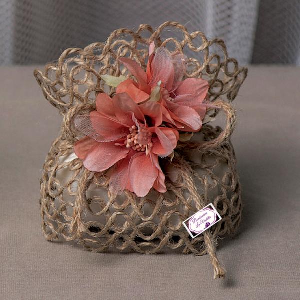Amato Sacchetto piccolo Juta con fiori rosso corallo - Linea Nido d  EO91