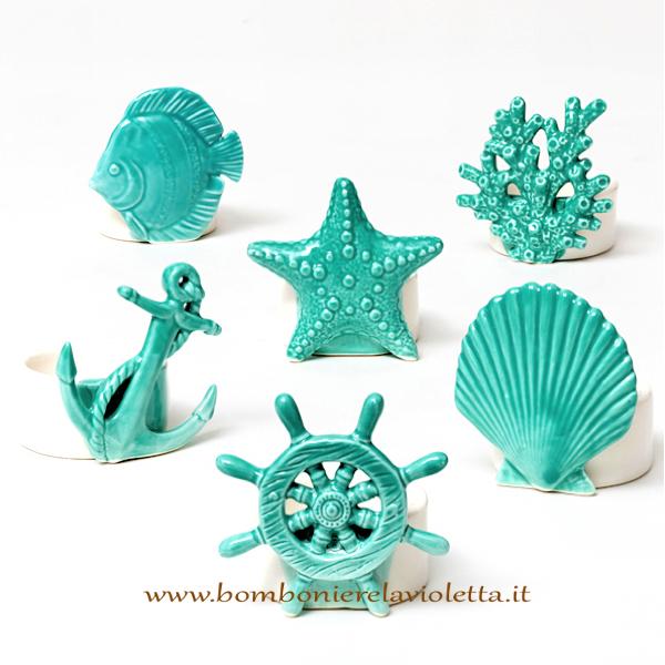 Bomboniere Matrimonio Verde Tiffany.Porta Candele Mare Bianco E Tiffany Linea Summer Bomboniere La