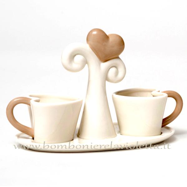 Bomboniere Matrimonio Tazzine.Tazzine Da Caffe Con Scatola Linea Cuori Bomboniere La Violetta