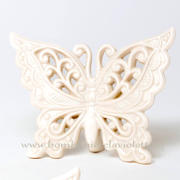 Bomboniere Matrimonio Con Farfalle.Farfalla Gr Bianca Ceramica Linea Romantic Bomboniere La Violetta