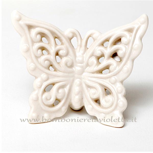 Bomboniere Farfalle Matrimonio.Farfalla Pc Bianca Ceramica Linea Romantic Bomboniere La Violetta