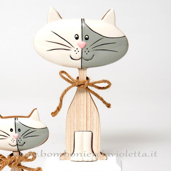 Bomboniere Matrimonio Gatti.Gatto Gr Legno E Porcellana Linea Wood For Love Bomboniere La