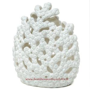 Bomboniera matrimonio corallo bianco grande con led