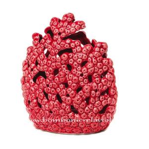 Bomboniera matrimonio corallo rosso led in porcellana